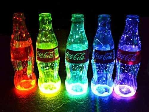 bottles with lights