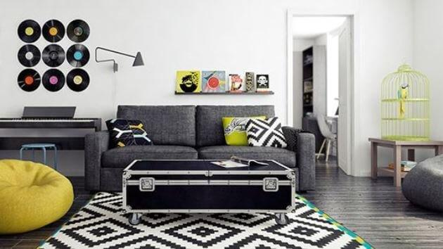 Vinyl records on the wall with rock n' roll decor.